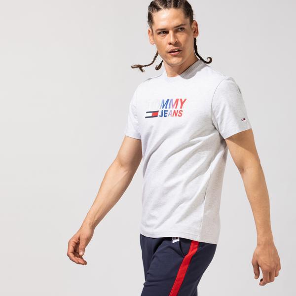 Tommy Hilfiger TJM Color Corp Logo Erkek Gri T-Shirt