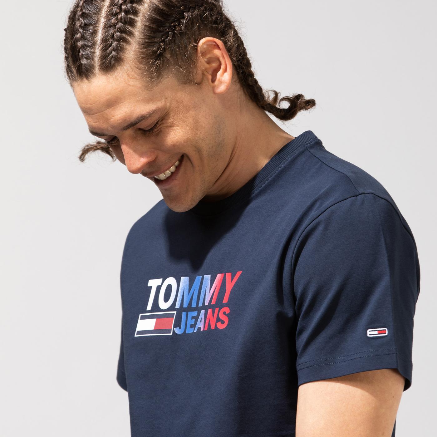 Tommy Hilfiger TJM Color Corp Logo Erkek Lacivert T-Shirt