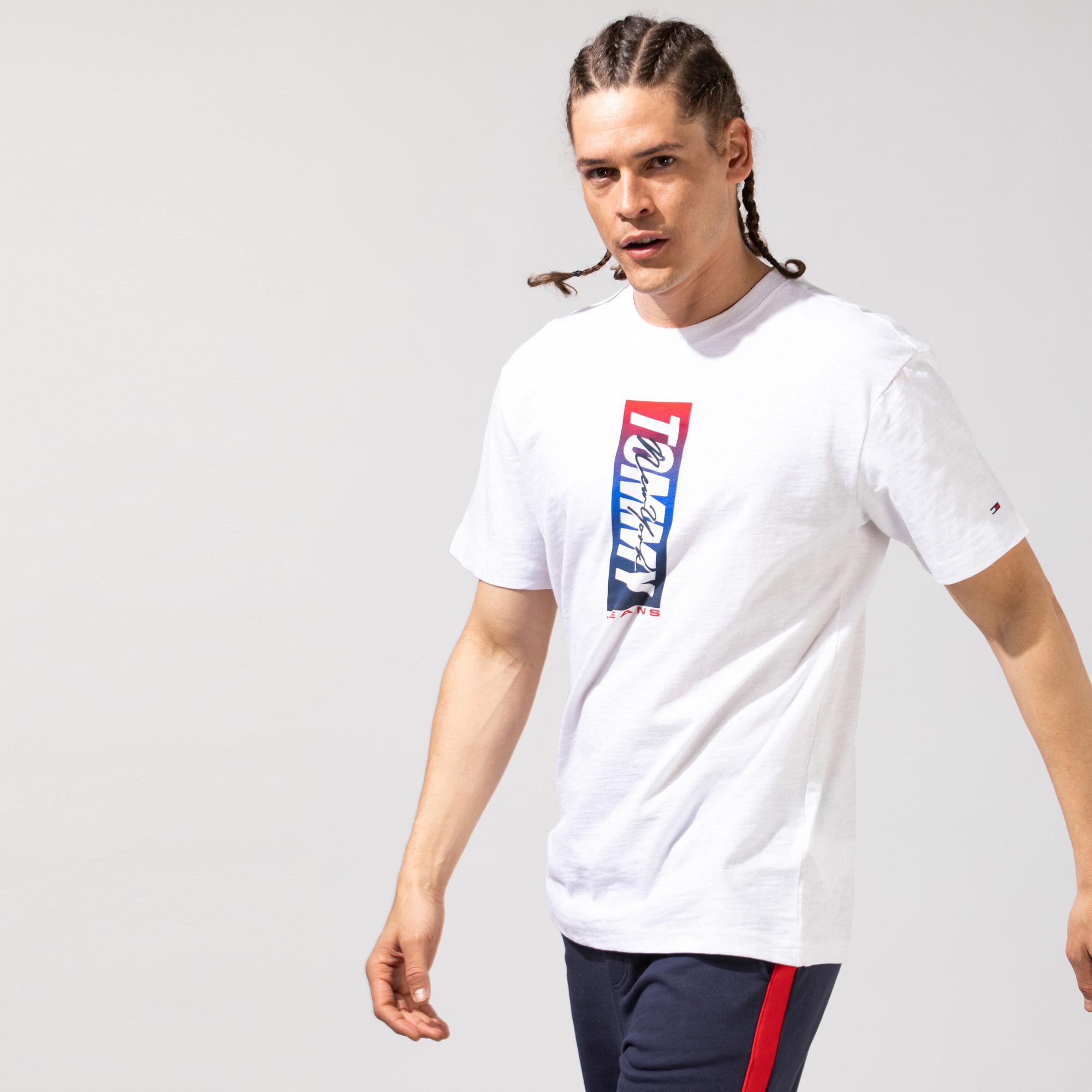 Tommy Hilfiger TJM Vertical Front Logo Box Erkek Beyaz T-Shirt