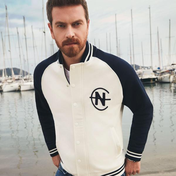 Nautica Erkek Beyaz Blok Desenli Sweatshirt