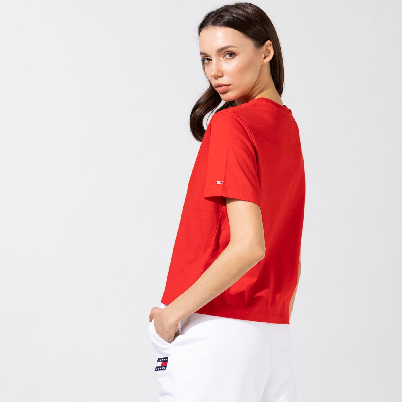 Tommy Hilfiger TJW Linear Logo Kadın Kırmızı T-Shirt