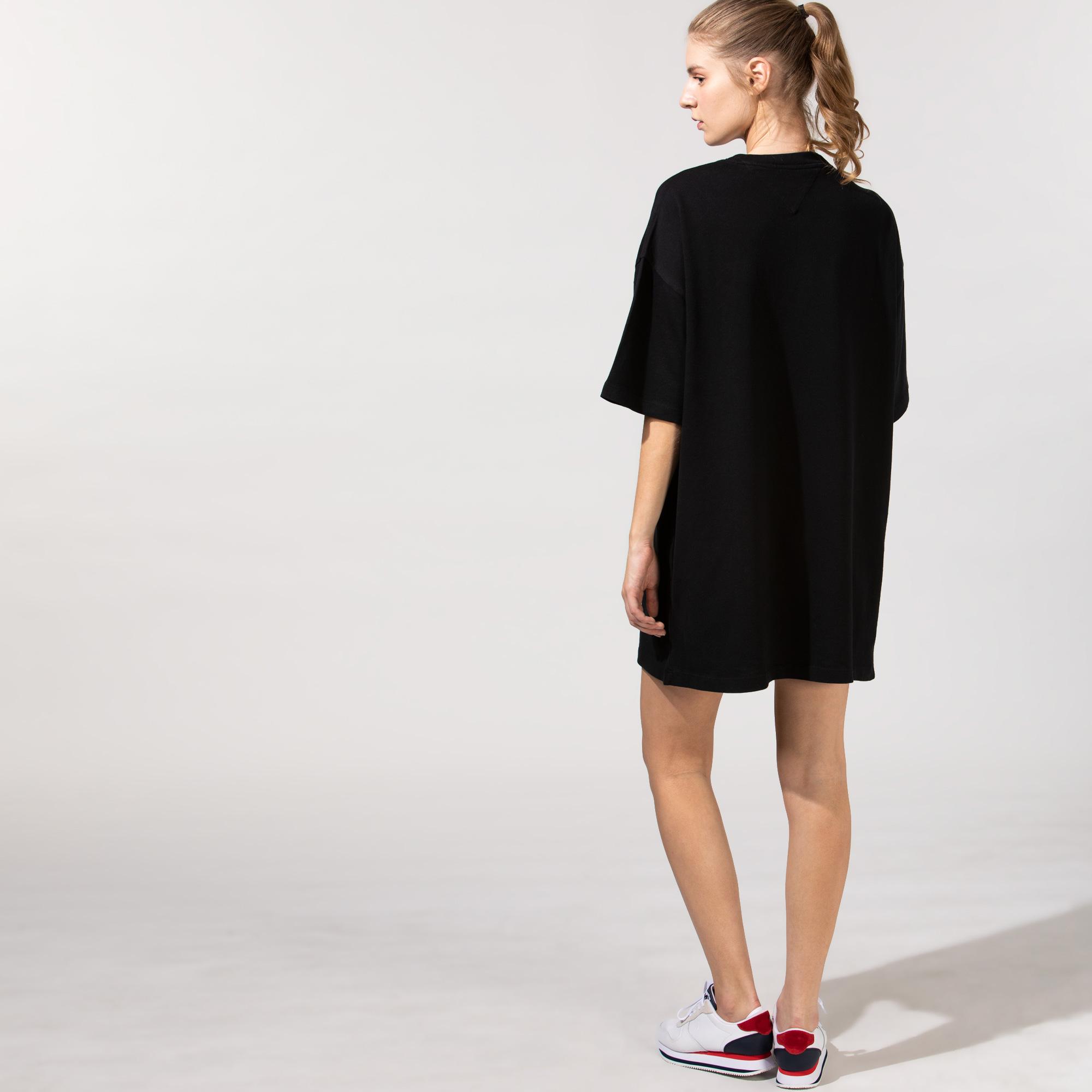 Tommy Hilfiger TJW Oversized Badge Kadın Siyah Elbise