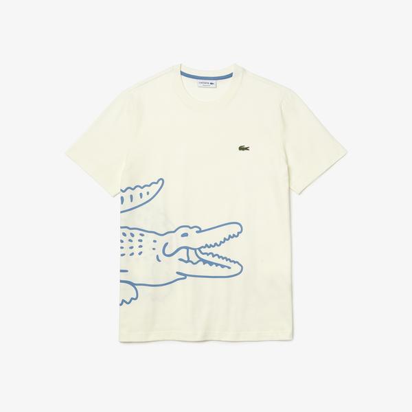 Lacoste Erkek Baskılı Beyaz T-Shirt