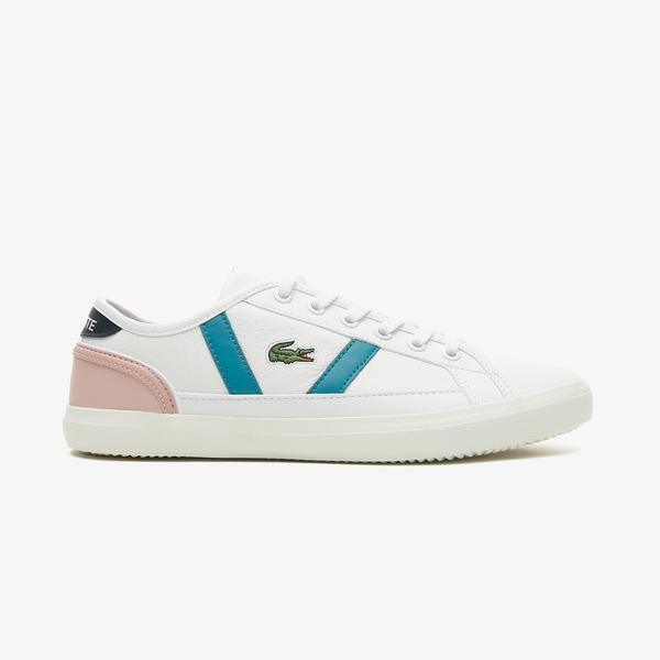 Lacoste Sideline 0721 1 Cfa Kadın Beyaz - Pembe Spor Ayakkabı