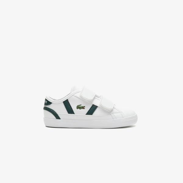 Lacoste Sideline 0721 1 Cui Çocuk Beyaz - Koyu Yeşil Spor Ayakkabı