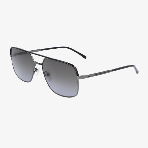 Lacoste Modified Rectangle Erkek Gri Güneş Gözlüğü