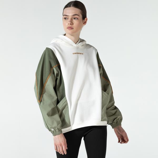 Converse Blocked Alt Terrain Kadın Beyaz Sweatshirt