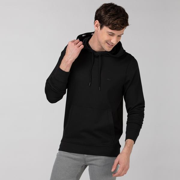 Lacoste Erkek Kapüşonlu Baskılı Siyah Sweatshirt