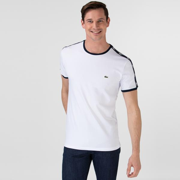 Lacoste Erkek Bisiklet Yaka Baskılı Beyaz T-Shirt