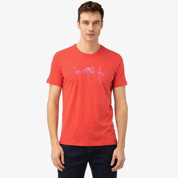 Nautica Erkek Turuncu Baskılı T-Shirt