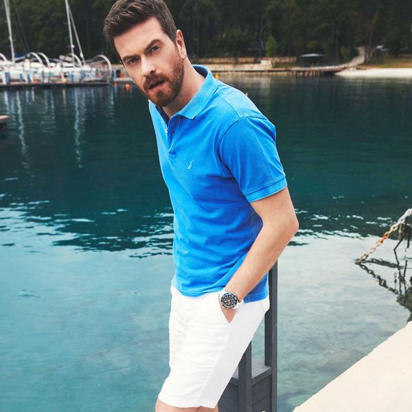 Nautica Erkek Beyaz Keten Bermuda Şort