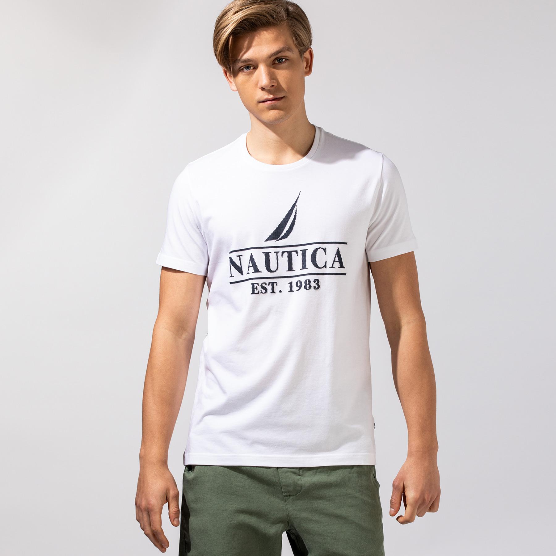 Nautica Erkek Beyaz Baskılı T-Shirt