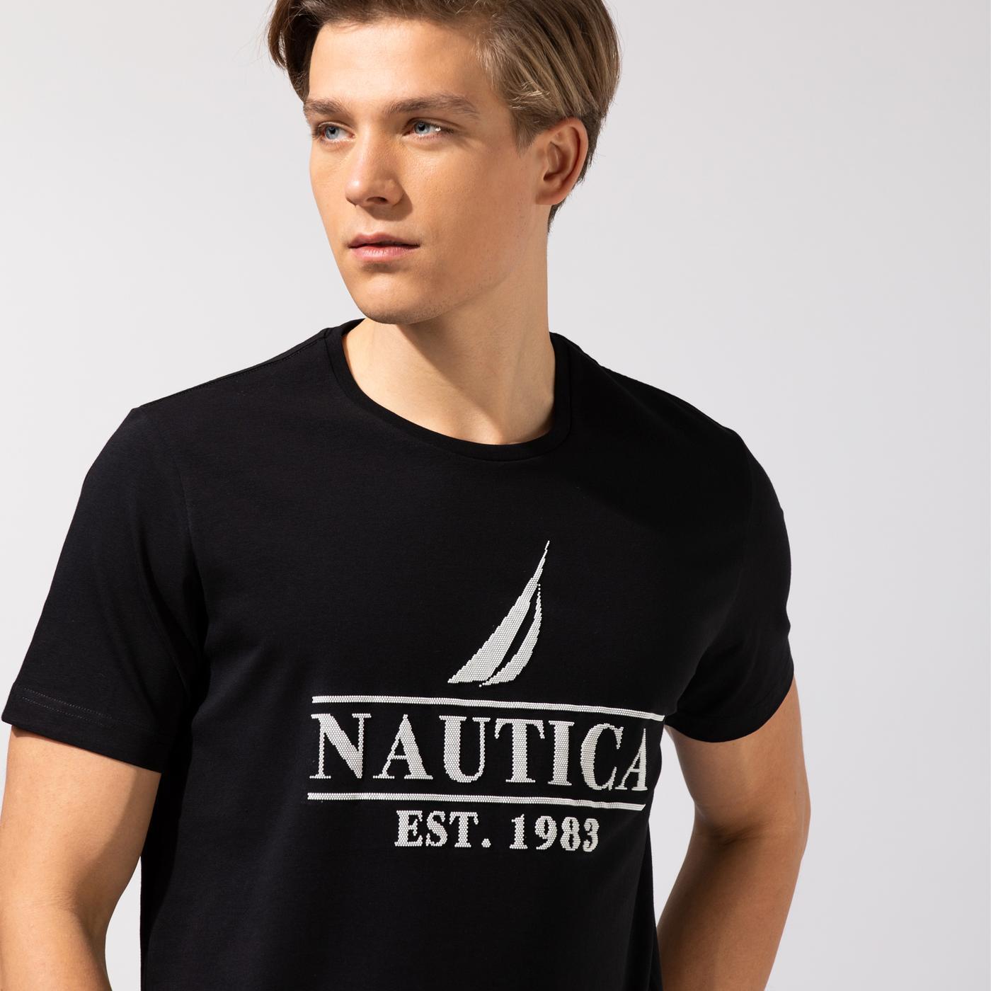 Nautica Erkek Siyah Baskılı T-Shirt