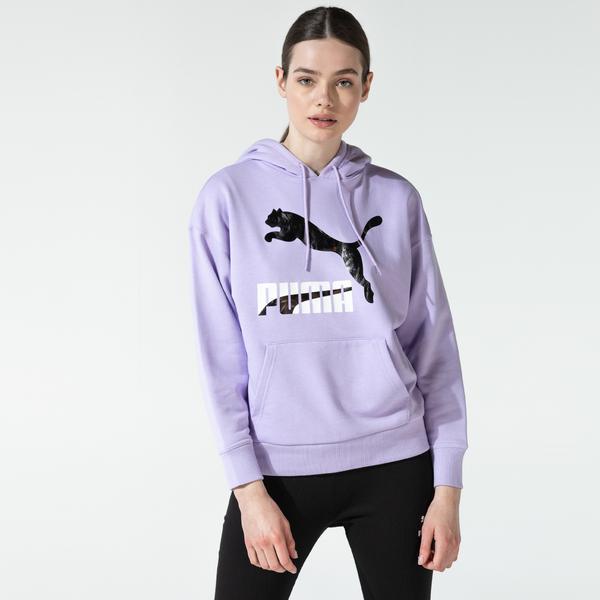 Puma Classics Logo Kadın Mor Sweatshirt