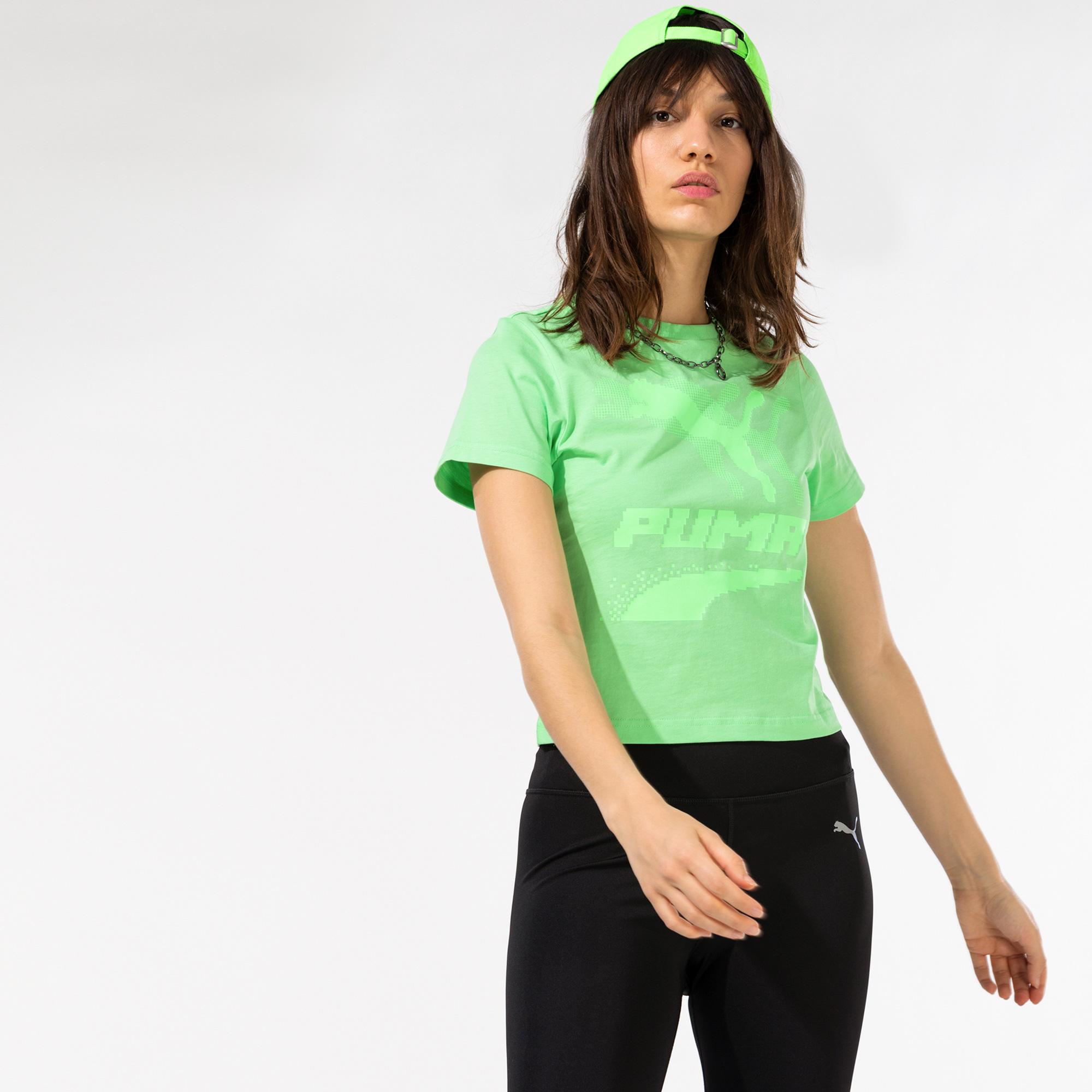Puma Evide Graphic Kadın Yeşil T-Shirt
