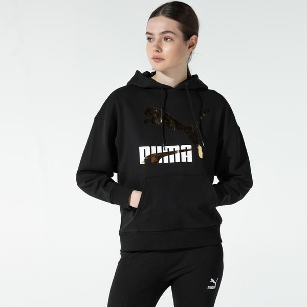 Puma Classics Logo Kadın Siyah Sweatshirt