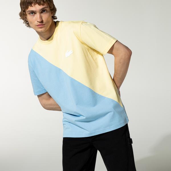 Lacoste LIVE Unisex Loose Fit İki Renkli Pamuklu T-shirt