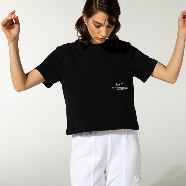 Nike Swoosh Kadın Siyah T-Shirt
