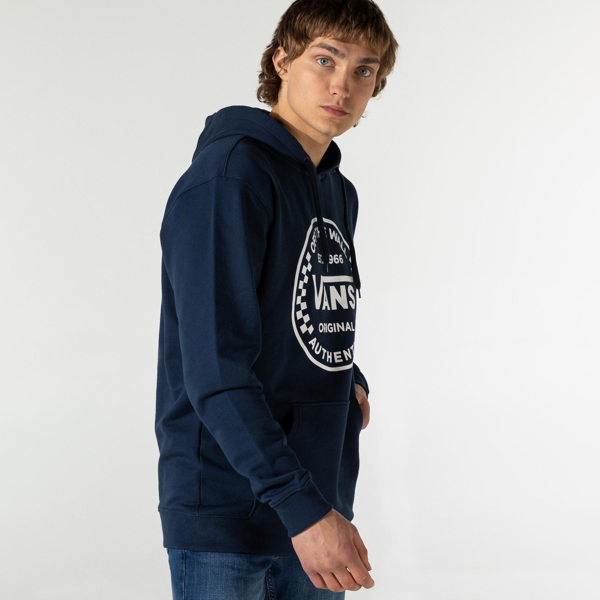 Vans Authentic Checker Erkek Mavi Kapüşonlu Sweatshirt
