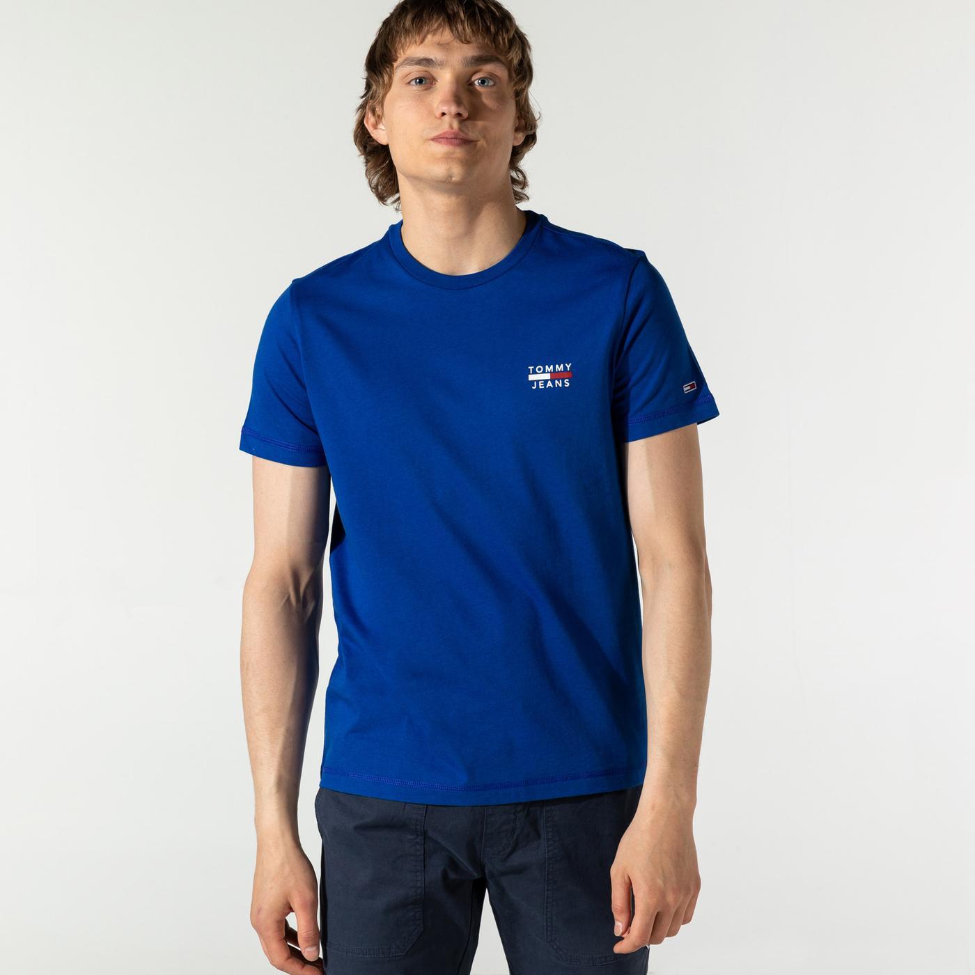 Tommy Hilfiger TJM Chest Logo Erkek Mavi T-Shirt