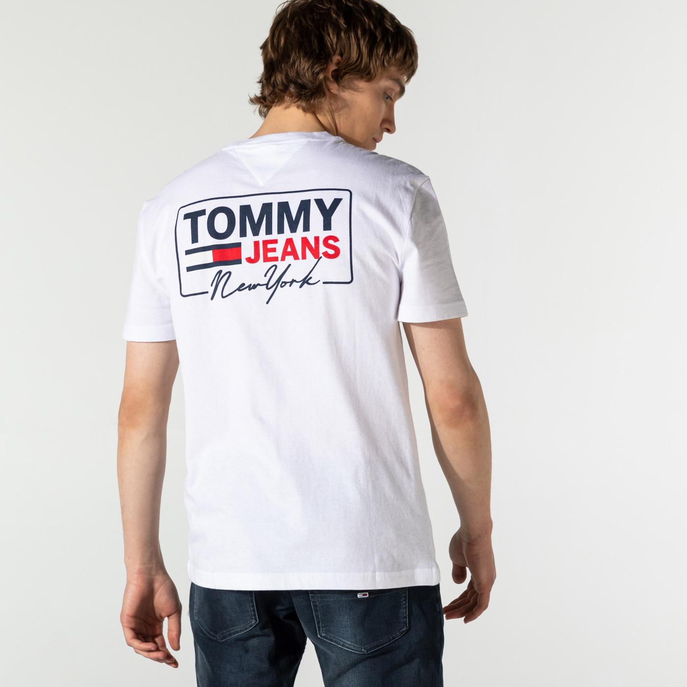 Tommy Hilfiger TJM NY Script Box Back Logo Erkek Beyaz T-Shirt