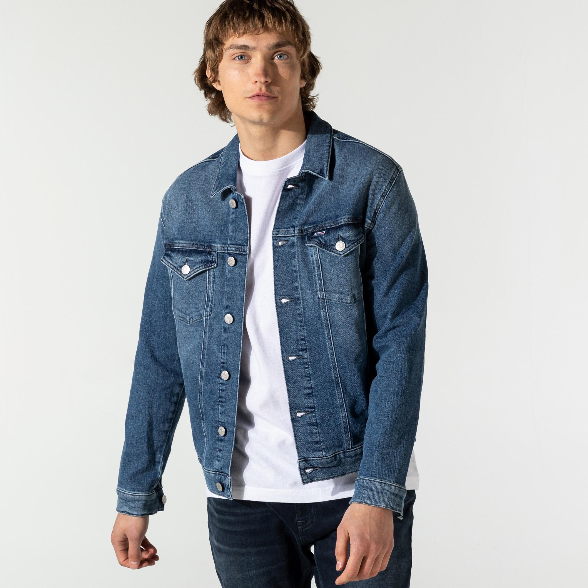 Tommy Hilfiger Regular Trucker Jacket Lmbc Erkek Mavi Ceket