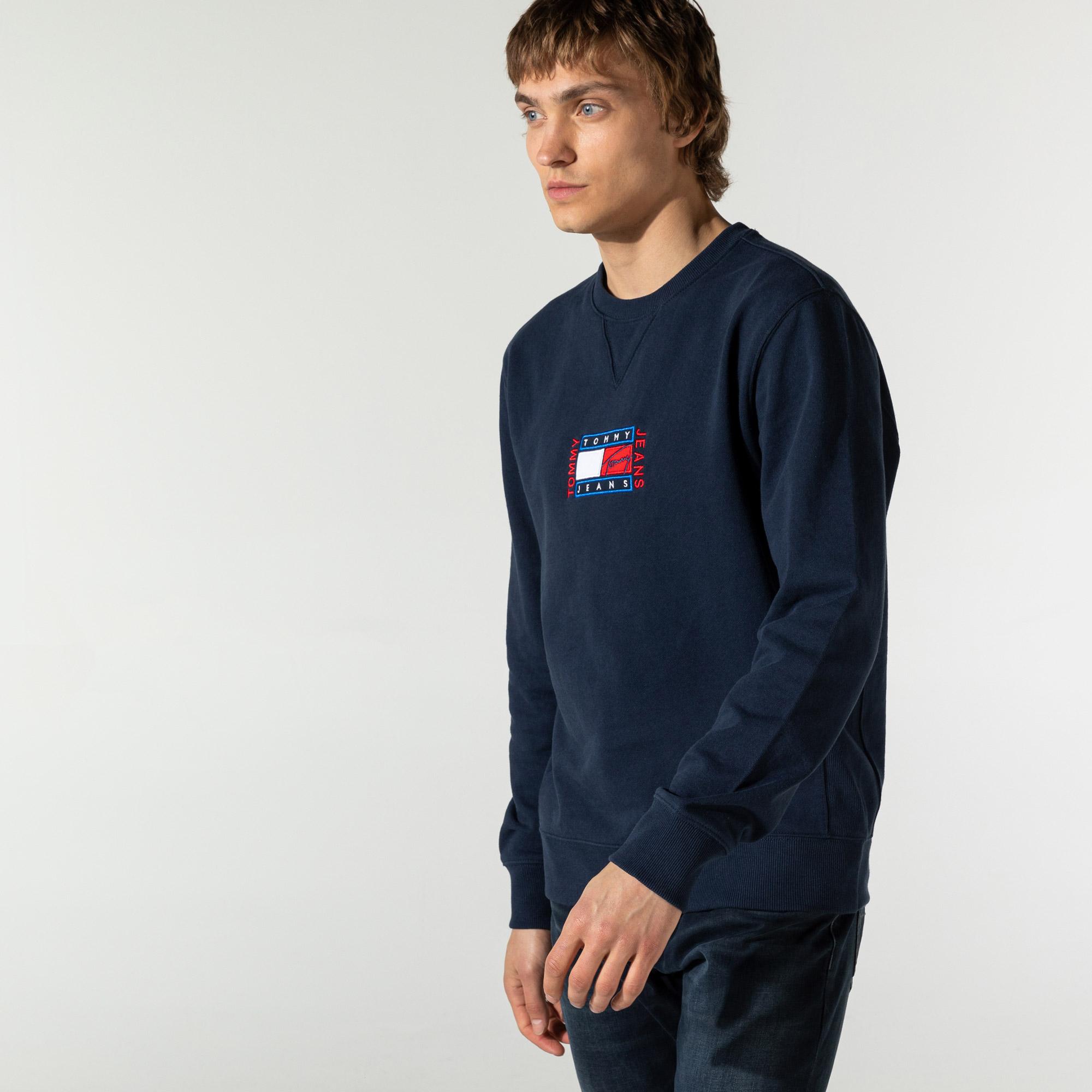 Tommy Hilfiger TJM Timeless Tommy Crew 3 Erkek Lacivert Sweatshirt