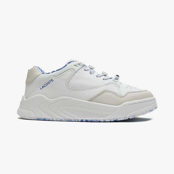 Lacoste Court Slam 1121 1 Sfa Kadın Deri Beyaz - Mavi Spor Ayakkabı
