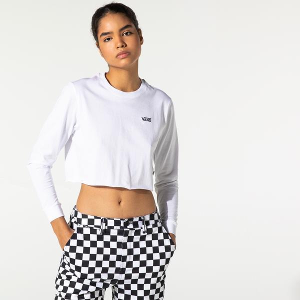 Vans Junior V Crop Kadın Beyaz Uzun Kollu T-Shirt