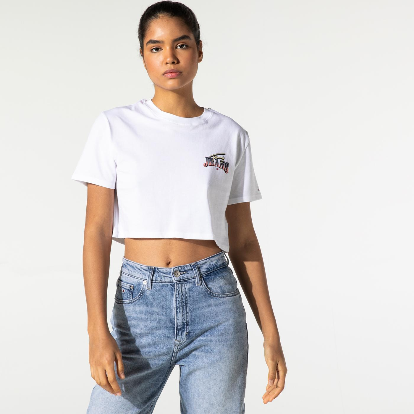 Tommy Hilfiger TJW Super Crop Logo Kadın Beyaz T-Shirt