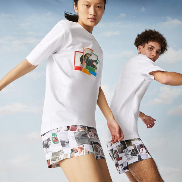 Lacoste L!ve Unisex Baskılı Beyaz T-Shirt