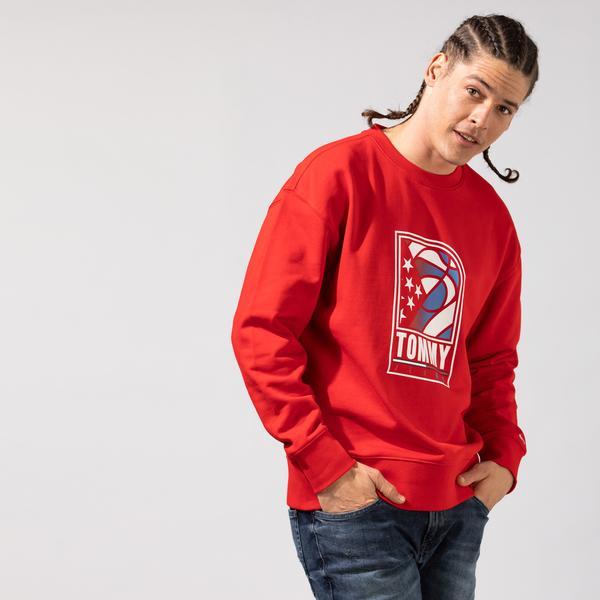 Tommy Hilfiger Tjm Basketball Crew Erkek Kırmızı Sweatshirt