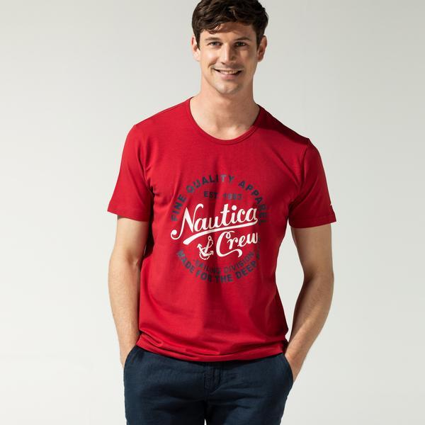 Nautica Erkek Kırmızı Baskılı T-Shirt