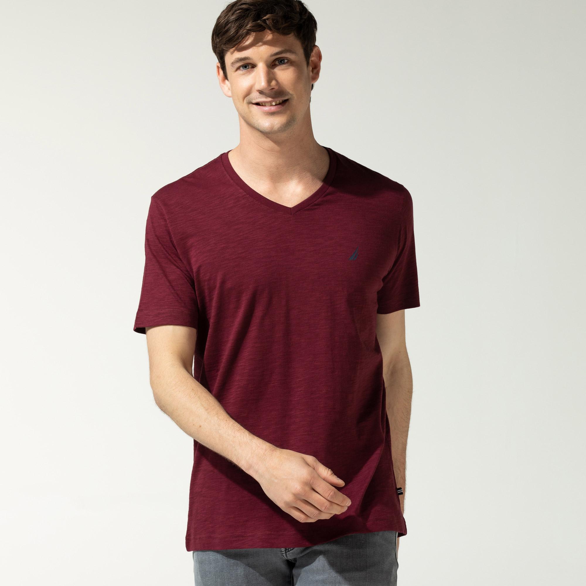 Nautica Erkek Bordo V-Yaka T-Shirt