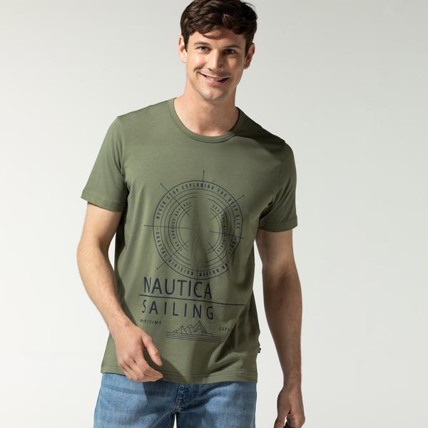 Nautica Erkek Yeşil Baskılı T-Shirt