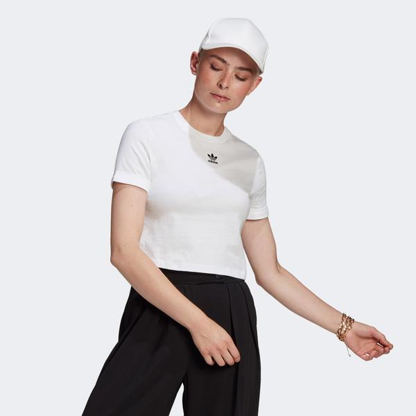 adidas Adicolor Classics Roll-Up Kadın Beyaz T-Shirt