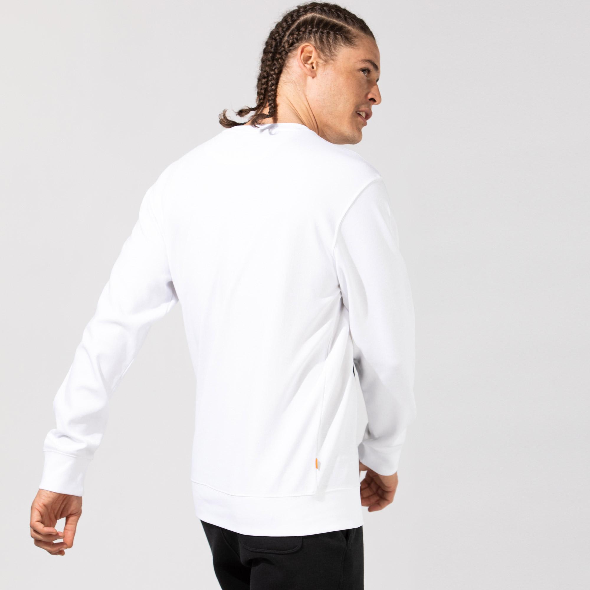 Timberland LS Mtr Print Crew Sweatshirt Reg Erkek Beyaz Sweatshirt