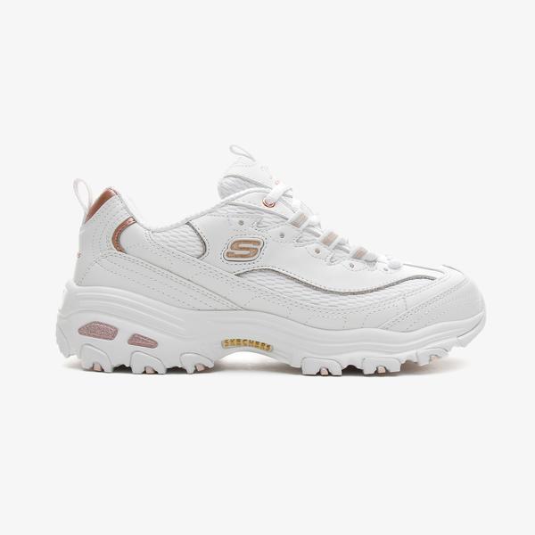 Skechers D'Lites Kadın Beyaz-Pembe-Altın Spor Ayakkabı