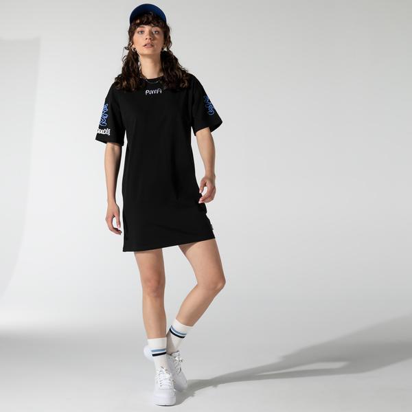 Puma X Mr Doodle Kadın Siyah T-shirt Elbise