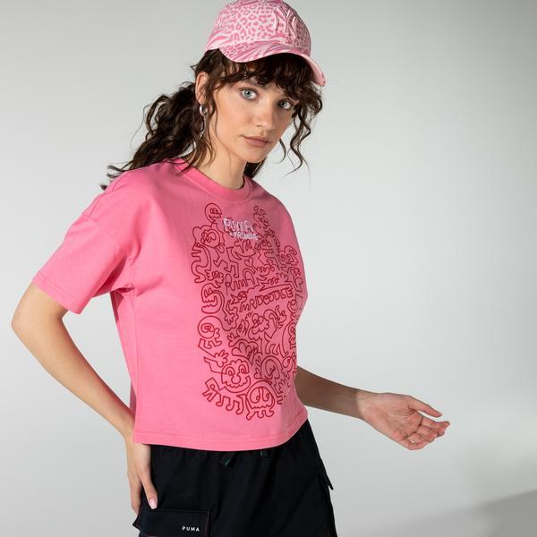 Puma X Mr Doodle Kadın Pembe T-Shirt