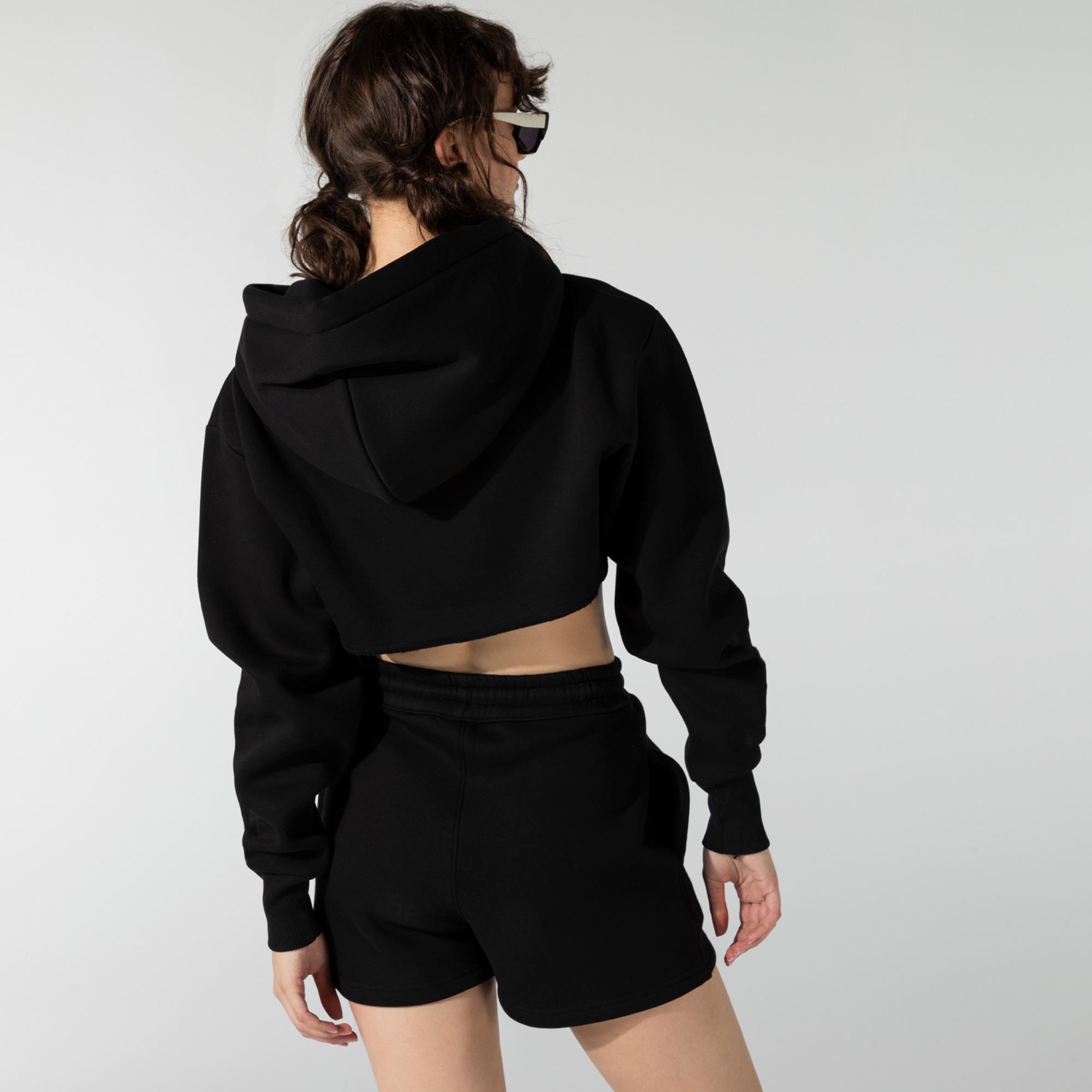 Soon To Be Announced Logo Printed Crop Siyah Kadın Kapüşonlu Sweatshirt