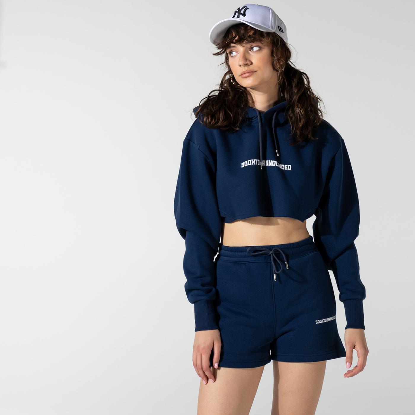 Soon To Be Announced Logo Printed Crop Lacivert Kadın Kapüşonlu Sweatshirt