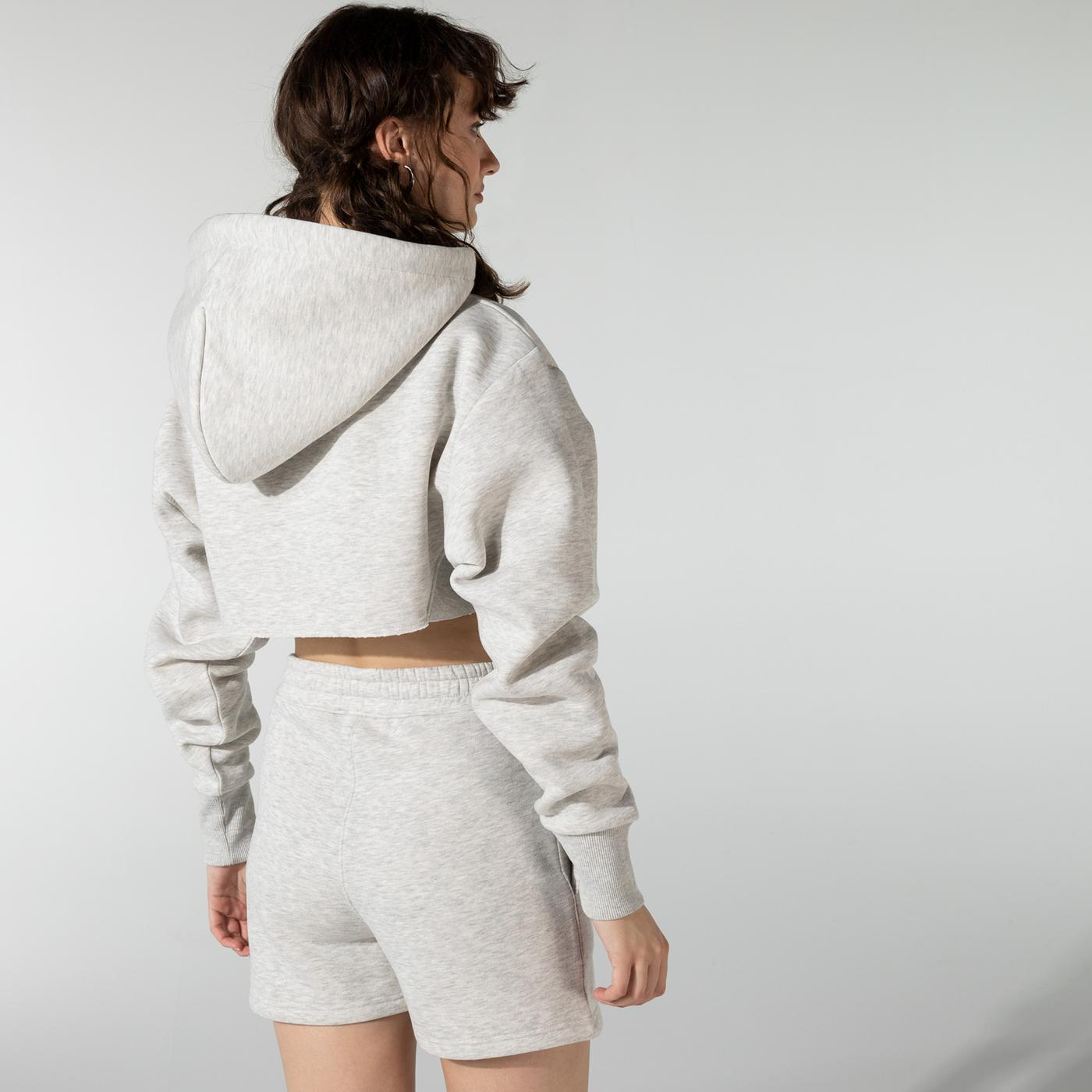 Soon To Be Announced Logo Printed Crop Gri Kadın Kapüşonlu Sweatshirt