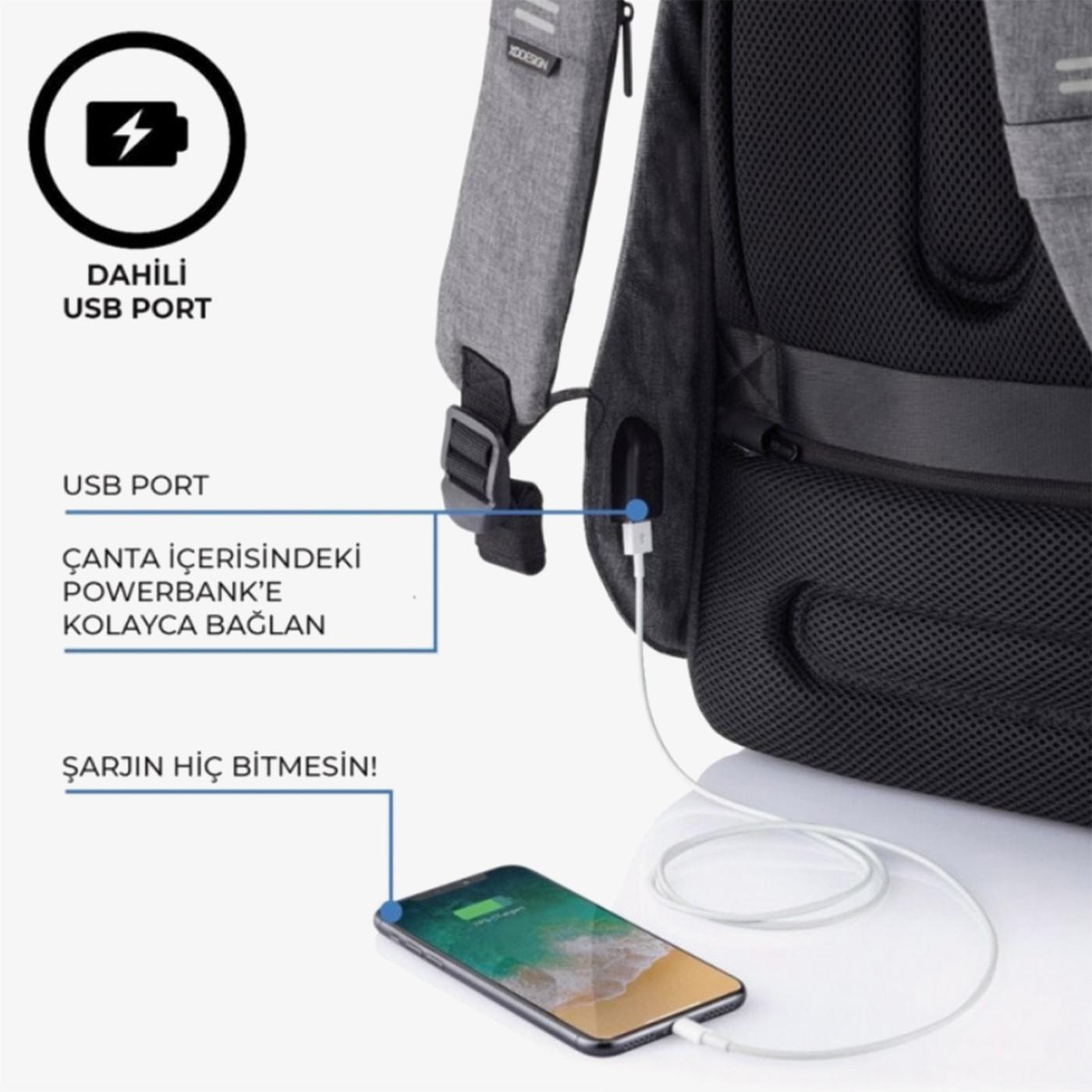 XD Design Unisex Gri Sırt Çantası
