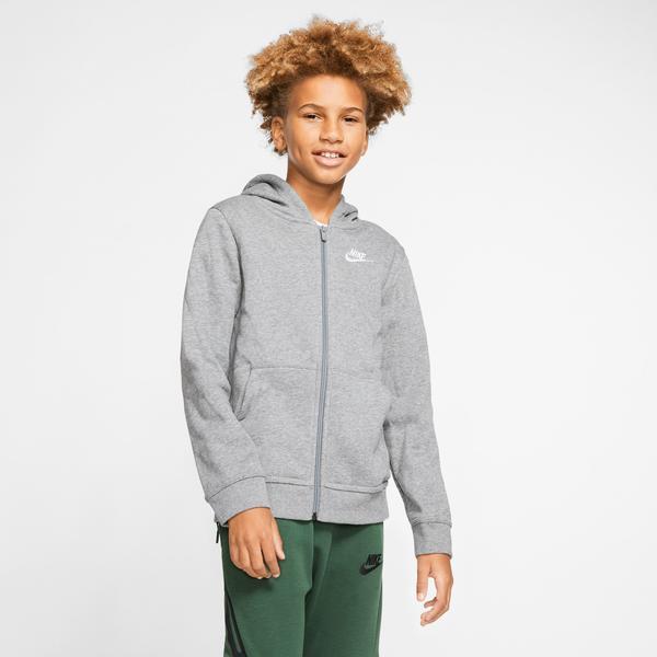 Nike Big Kids Sportswear Fz Club Çocuk Gri Kapüşonlu Sweatshirt