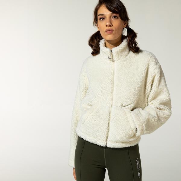 Nike Womens Swoosh Fleece Kadın Krem Ceket