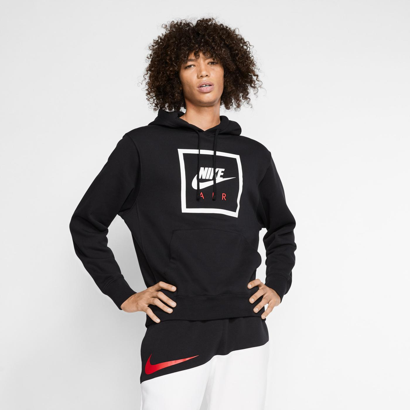 Nike Sportswear Essential Air 5 Erkek Siyah Kapüşonlu Sweatshirt