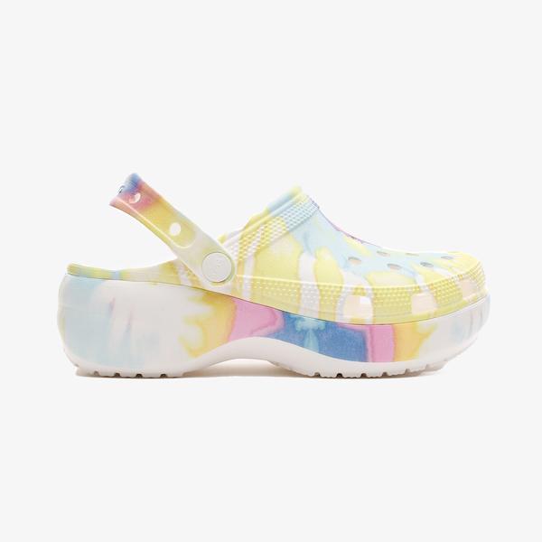Crocs Classic Platform Tie Dye Kadın Beyaz Terlik