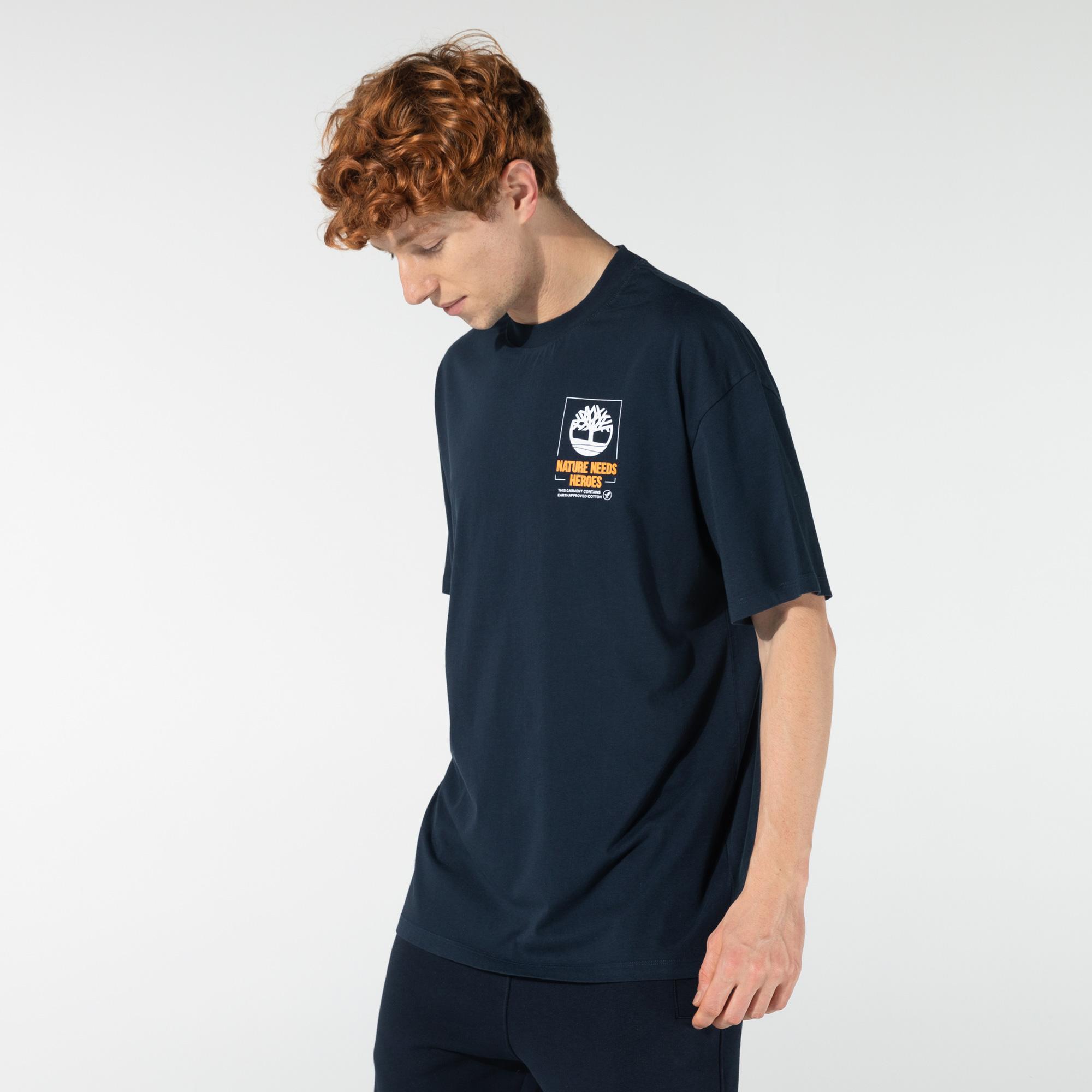 Timberland SS SS Back Graphic Erkek Lacivert T-Shirt