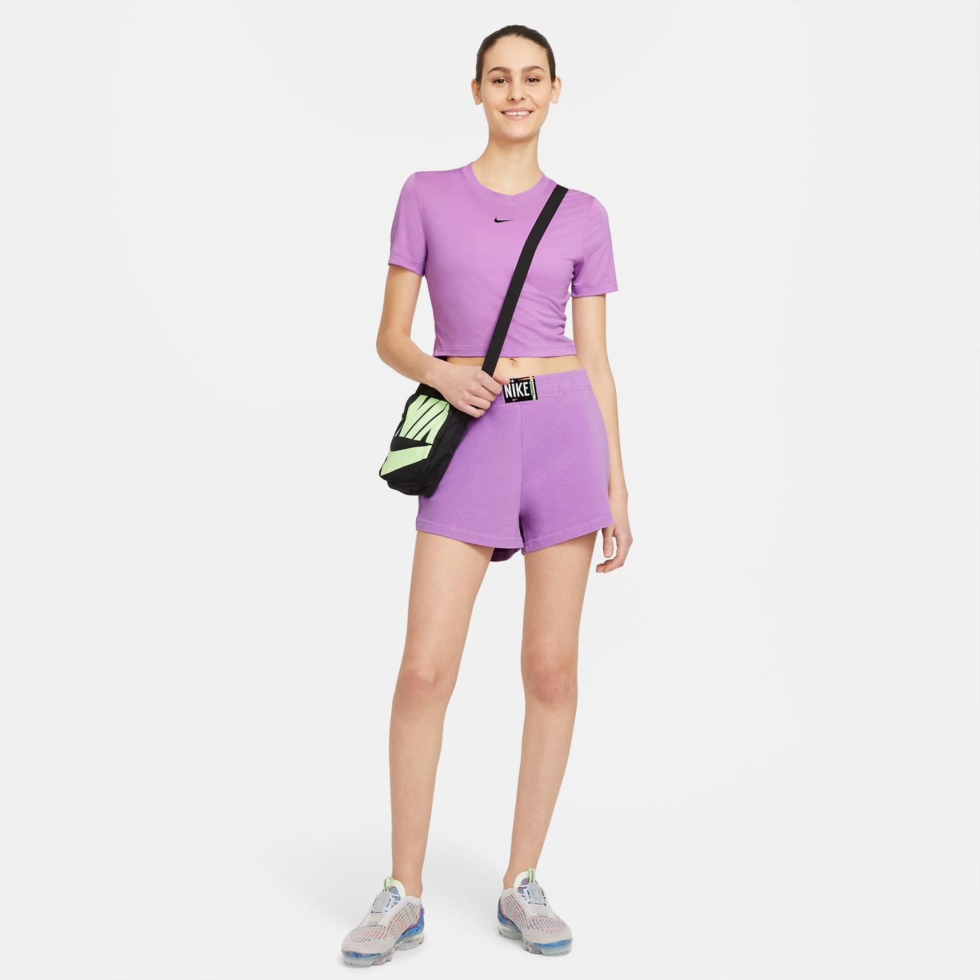 Nike Sportswear Essential Kadın Mor Crop Top T-Shirt